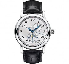 Montblanc Star Twin Moonphase Automatic Silver Dial Black Leather Mens Watch 110642